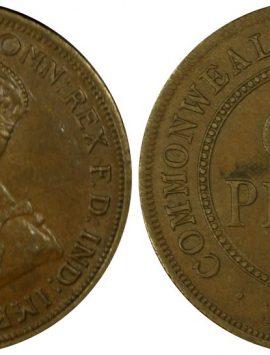 1914 Australia Penny in PCGS AU58