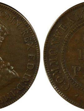 1923 half penny. High grade AU50