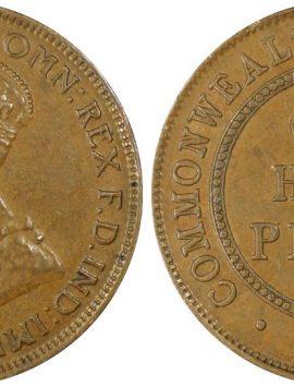QUALITY 1923 Half Penny PCGS AU53