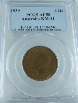 1939 Roo Half Penny PCGS AU58