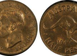 1942 (m) half penny PCGS MS62RB