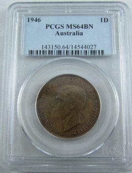 1946 Australian Penny. Guaranteed genuine. Choice coin PCGS MS64