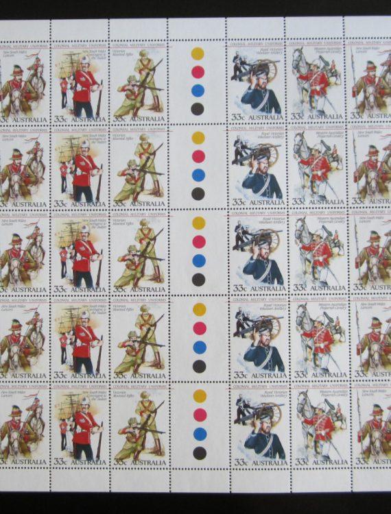 1985 Colonial Military Uniforms. Half sheet MNH