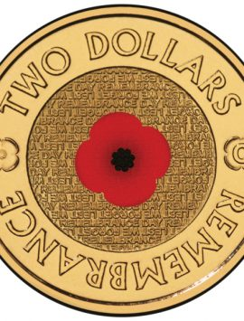 Remembrance Day $2 Commemorative Coin with Colour Poppy Imprint
