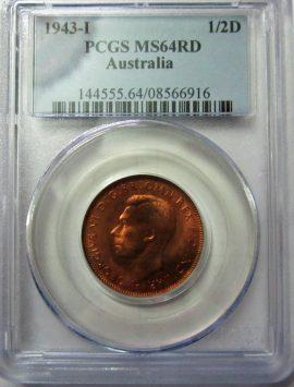 1943i Half Penny PCGS MS64RD