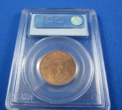 1963 PROOF half penny. PCGS PR65 RD