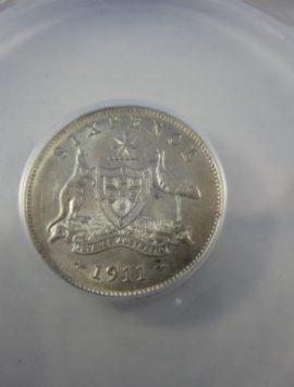 1911 George V sixpence AU58