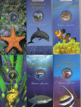 2006 - 2007 Ocean Series pad printed $1 coin set of 6