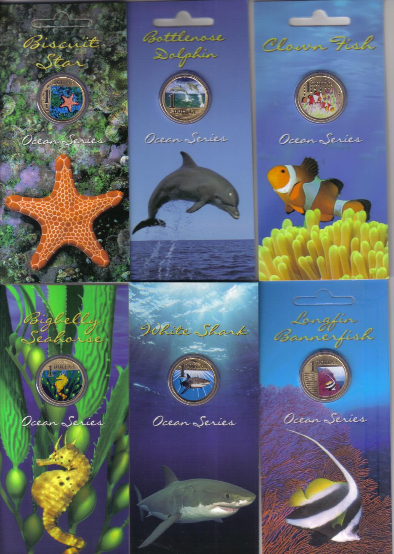 2007 Australia $1 Coloured Coin Ocean Series Big Belly Sea Horse