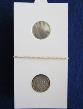 Coin holder for the three pence. Packet of 50
