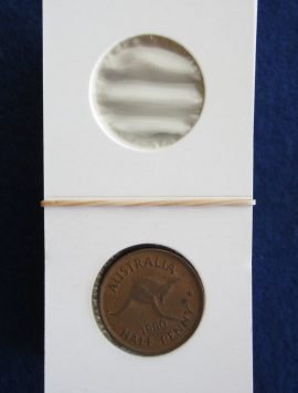Coin holder for the half penny. Packet of 50